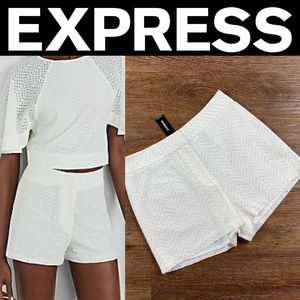 Express Ivory Fly Front Short